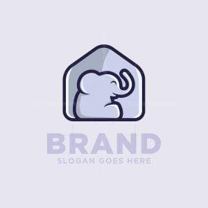 Cute House Elephant Logo