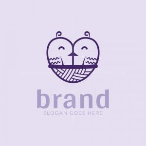 Cute Birds Heart Logo