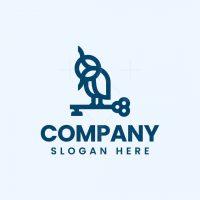 Minimalist Owl And Key Logo