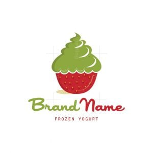 Strawberry Frozen Yogurt Symbol Logo