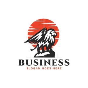 Winged Lion At Sunset Logo