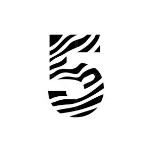 Number 5 With Zebra Pattern Icon Logo