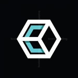 Letter C Cube Logo