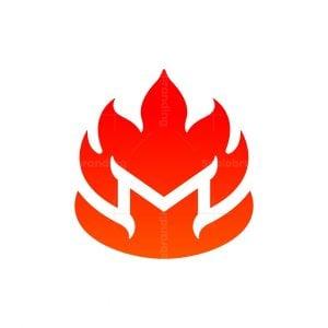 Letter M Fire Mark Logo