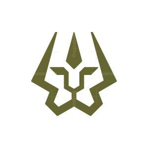 Luxury Lion Trident Logo