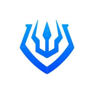Modern Trident And Shield Logo