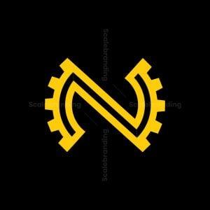 Letter N Formed In A Gear Shape Logo
