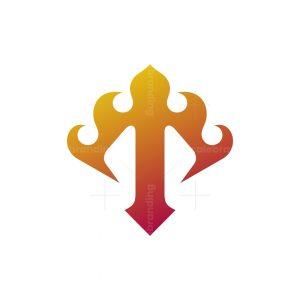 T Letter Flame Logo