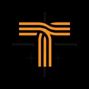 T Junction Letter Shape Logo