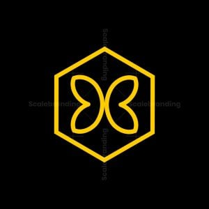 Modern Abstract Butterfly Inside Hexagon Line Logo