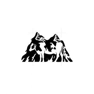 Cow And Mountain Icon Logo