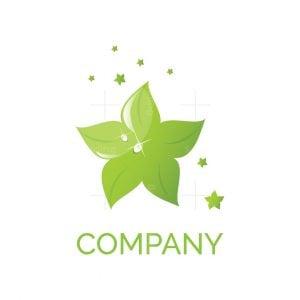Green Star Leaves Symbol Logo