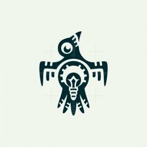 Tribal Light Bulb Bird Logo