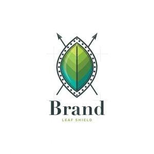 Leaf Shield Symbol Logo