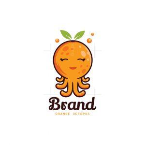 Orange Octopus Character Logo