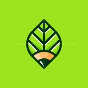 Pencil Leaf Nature Logo