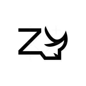 Letter Z Rhino Logo Rhinoceros Head Logo