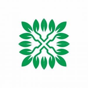 Letter X Leaf Logo