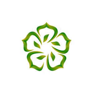 Abstract Pentagon Leaf Logo