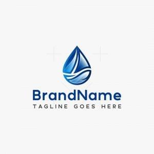 Boat In A Water Drop Logo