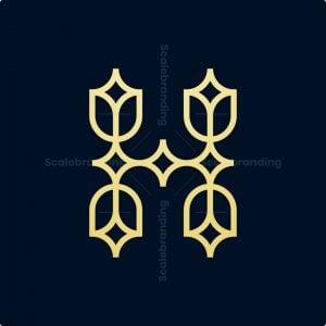 Letter H Minimalist Flower Logo