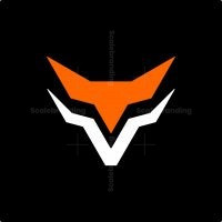 Letter V Fox Head Logo