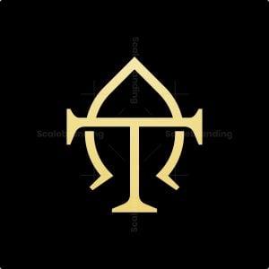Luxury Golden T Leaf Logo