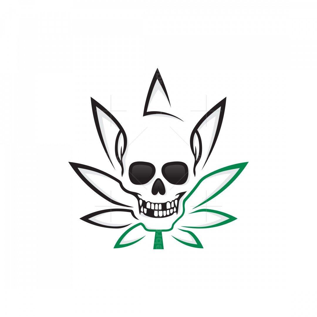 Marijuana Leaf Skull Logo