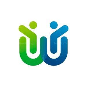 W Letter Human Logo
