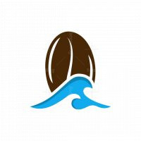 Bean Coffee Wave Ocean Logo