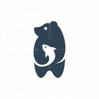 Bear Fish Silhouette Logo