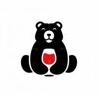 Bear Wine Silhouette Logo