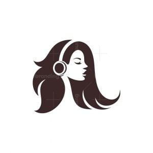 Woman Beauty Music Silhouette Logo