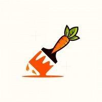 Carrot Brush Paint Logo