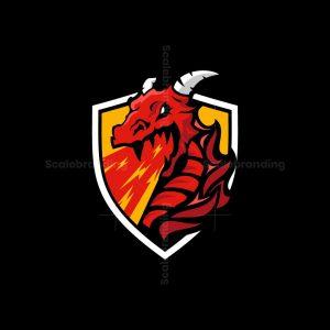 Dragon Fire Shield Mascot Logo