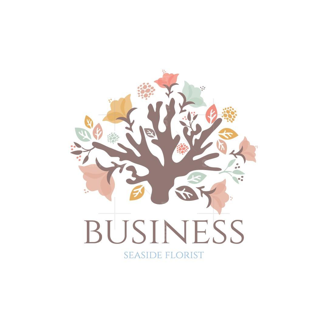 Floral Coral Seaside Florist Logo