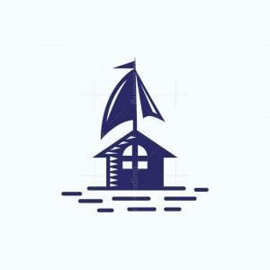 House Boat Sailing Logo