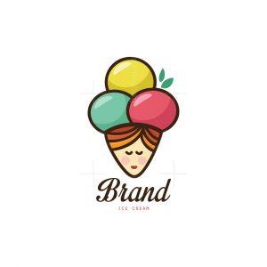 Lady Ice Cream Cone Logo