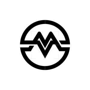 Modern Cool Letter M Mv Vm Logo