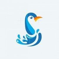 Penguin Water Splash Color Logo