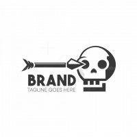 Skull Get Shot By Arrow Logo