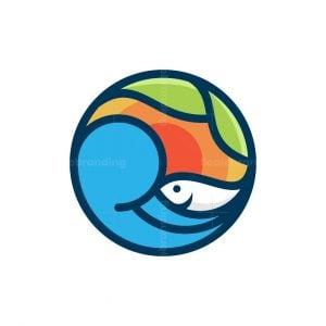 Wave Fish Leaf Circle Logo