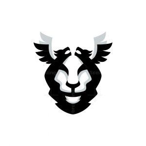 Flying Dragon Lion Face Logo