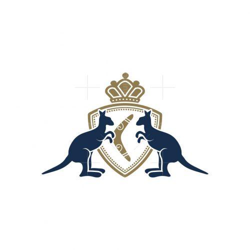 Kangaroo And Boomerang Heraldic Logo