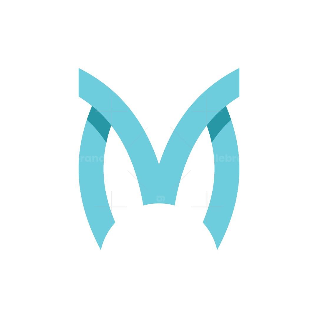 Letter M Rabbit Ears Logo