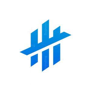 Letter H, W, M, 3 Abstract Minimalist Logo Design