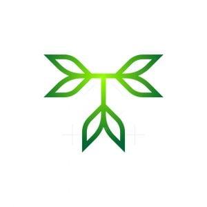 Letter T Nature Leaf Logo