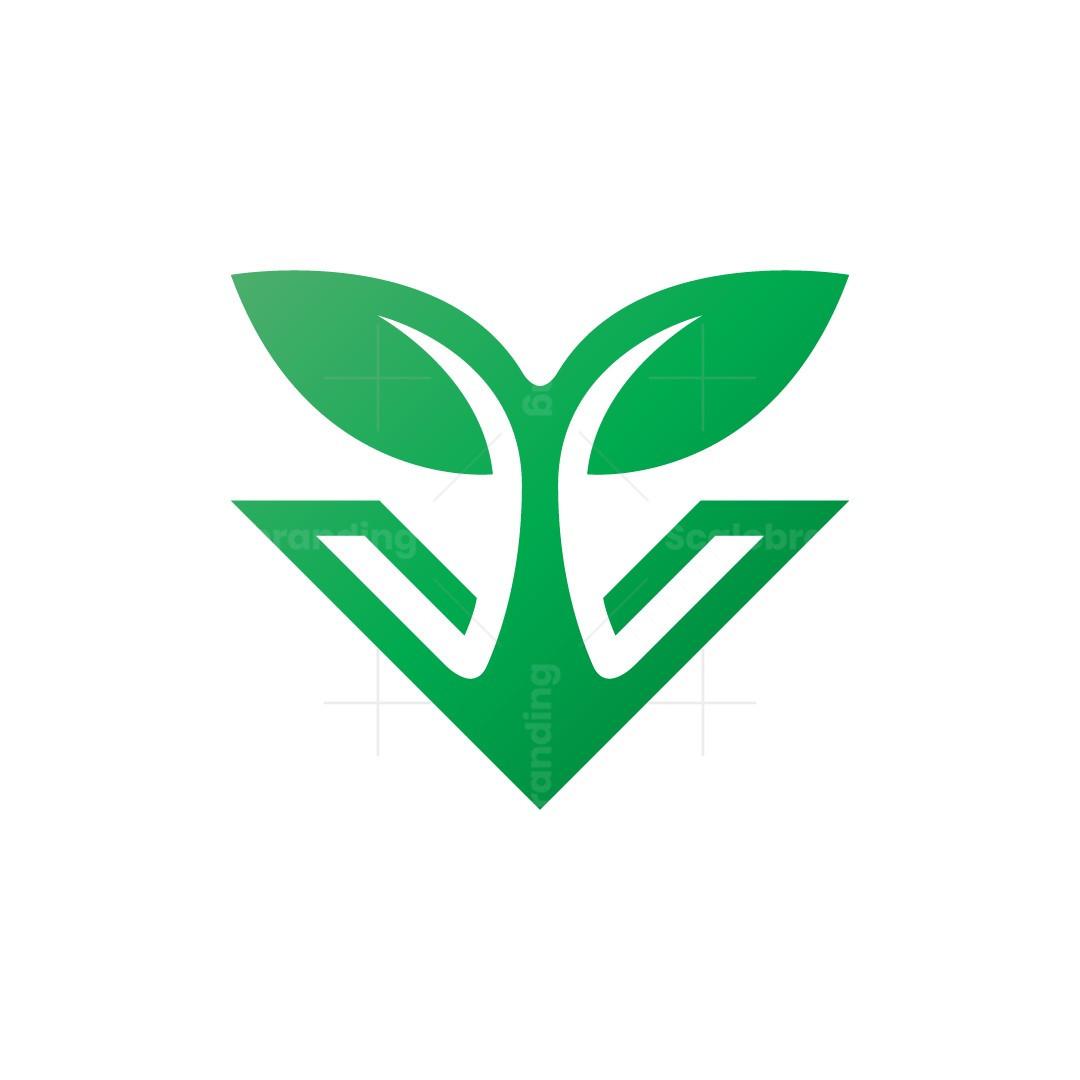 Letter V Plant Logo