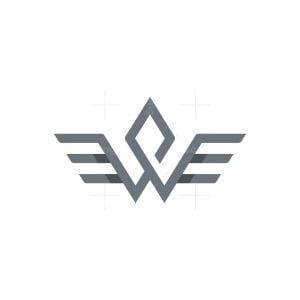 Letter W Wings Logo