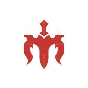 Letter M Sword Logo
